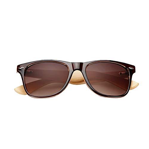 cdzhouji Art und Weise polarisierte Sonnenbrille Bambusrahmen Sonnenbrille Farbe Film Sonnenbrille Bambus-Gläser für Männer und Frauen 1PV polarisierte Sonnenbrille Braun Typ