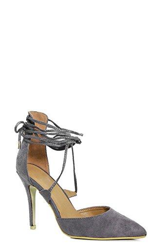 Grau Damen Eve Pumps Mit Pfennigabsatz, Spitzer Zehenpartie Und Gewickelten Riemchen Grau