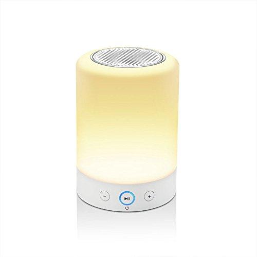 LIGHTSTORY Smart Light Lautsprecher - Nachttischlampe mit Bluetooth Speak, Sensitive Touch Sensor, Multi-Color Wickeltisch LED Lampe, Smart Portable Wireless Nachtlicht, Weiß