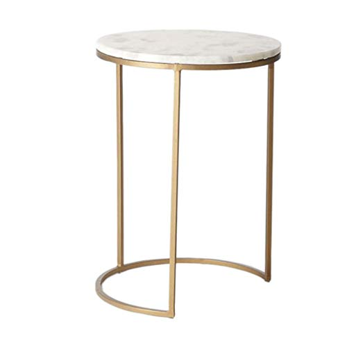 C-J-X TABLE C-J-Xin Haushalts-Marmor-Couchtisch, kreatives Wohnzimmer-Sofa-Tabellen-kreativer runder Nachttisch-Golddekorations-kleine Möbel Platz Sparen (Size : 40 * 40 * 48CM) | Schlafzimmer > Nachttische | C-J-X TABLE