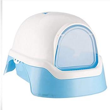 Wcx Rotin Toilette Chat,Chats Flip Encapuchonné Animal De Compagnie Toilette Entièrement Clos Extra Large Fermé (Couleur : Bleu)