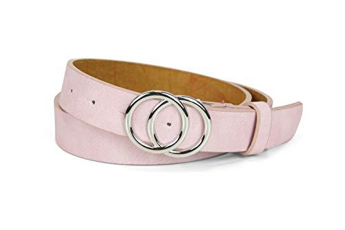 irisaa Schmaler Damen Gürtel mit runder Metallschnalle zwei Ringen, 2,8 cm breit und 0,4 cm stark, Farbe:pink, Länge:80 (Damen Designer Gürtel)