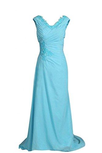 Sunvary A-Line lunghe con collo A V, da damigella d'onore per feste formali Prom Gowns Blue