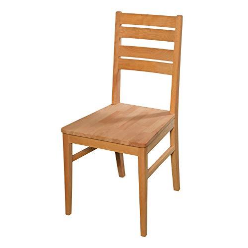 acerto 20001 Esszimmerstuhl aus Buche massiv ohne Armlehne * Geölt * Extrem robust | Holzstuhl für Küche & Esszimmer | Rustikaler Esstisch-Stuhl, Massivholz-Stuhl, Küchenstuhl aus Buche