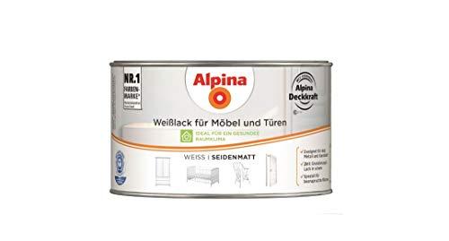 Alpina 300 ml Weißlack für Möbel und Türen, Acryl-Lack, Weiss Seidenmatt