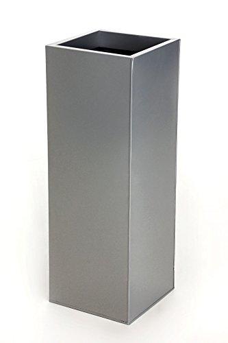 Vivanno Einzel Zink Blumenkübel Block 80 cm, Silber inkl. Bewässerungssystem
