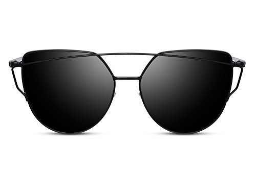 Cheapass Sonnenbrille Rund-e Cat-Eye Brille Schwarz UV-400 Metall Damen Herren