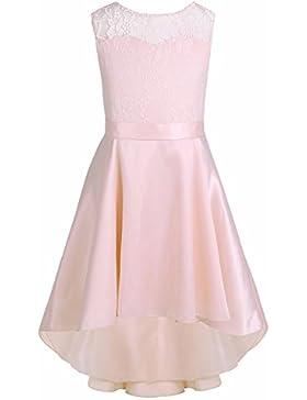 iiniim Vestido Encaje de Princesa Ceremonia de Fiesta Cumpleaños Alto-bajo Vestido para Niñas Chicas 4 a 14 Años