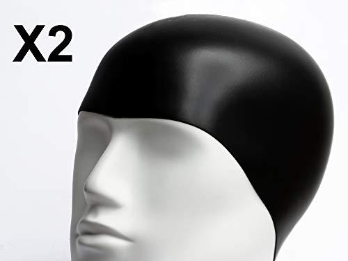 Emerpack 2X Silikon-Badekappen/Wasserdichte Schwimmkappe Für Erwachsene, Damen und Herren, Unisex/Elastische und Haltbare Schwimmhaube für Männer und Frauen/Einheitsgröße Schwarz Für Schwimmbad, Spa