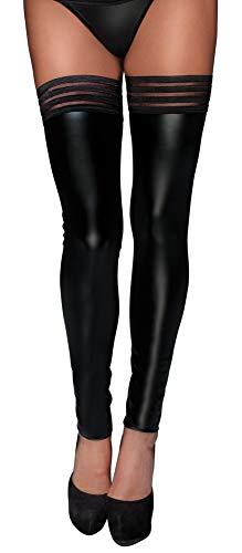 Schwarz Stockings im Wetlook Wet Look F158Größe XL