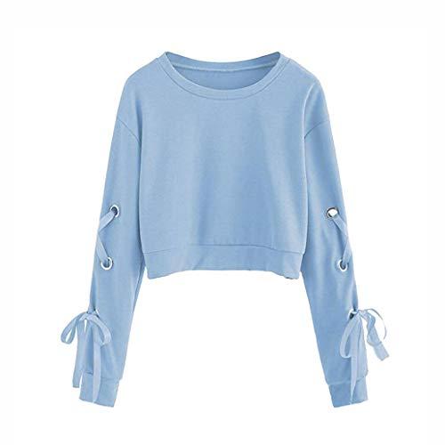 Bluse Damen Herbst Casual Lace Up O-Ausschnitt Langarm Pullover Crop Top Solid Sweatshirt Langarmshirt Tops Oberteil Lose Hemd Tunika - Lace-up Crop Jean