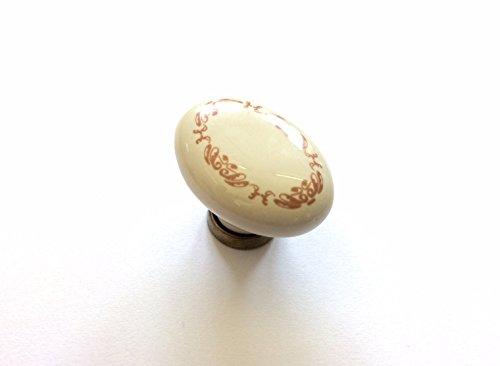 Pomello in stile classico per cassetti mobili armadi cucine ottone antico e porcellana con decoro