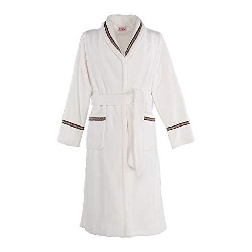 Lange Bademantel Schal verdickt Badetuch Plus Lange Flanell Robe Handtuch | Weibliche Models | Weiß (größe : L) (Herren Verdickt Schal)