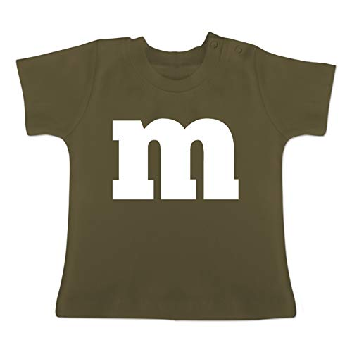 Karneval und Fasching Baby - Gruppen-Kostüm m Aufdruck - 1-3 Monate - Olivgrün - BZ02 - Baby T-Shirt Kurzarm