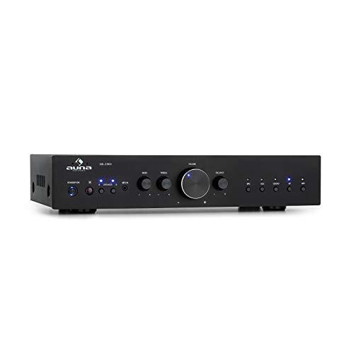 auna AV2-CD608BT Amplificateur stéréo HiFi : Puissance de Sortie: 4X 100W RMS, Bluetooth, Port USB pour fichiers MP3, entrées: 1 x Optique numérique/4x stéréo RCA, télécommande Infrarouge, No