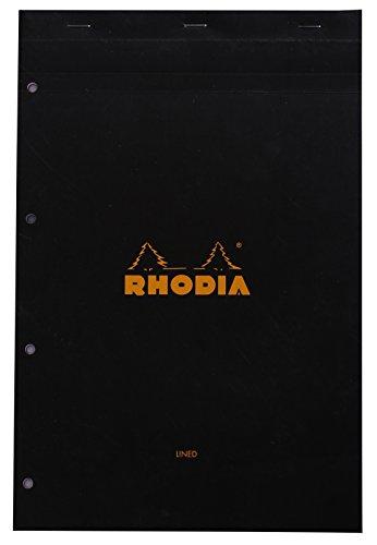 Rhodia - N°20 - Bloc Agrafes Perforé 80 Feuilles - Séyès - Format A4+ (21 x 31,8 cm) - Noir