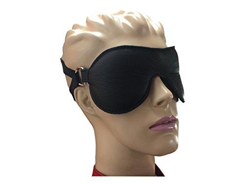 Bondage echt Leder Augenbinde gepolstert schwarz Augenmaske mit Doppel Halterung