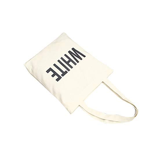 LanLan Umh?ngetasche Frauen kurze Buchstaben Muster einzelne Schulter Beutel Segeltuch tragbare zuf?llige Handtasche wei?e