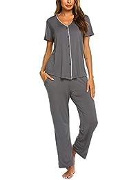 59c0195b7894 Schlafanzughosen Damen Pyjama Set Kurzarm Luxus & Weich Nachtwäsche  Zweiteiliger Shirt lang Hosen Sommer