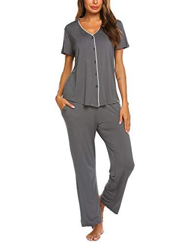 mer/Frühling Klassische Schlafanzug Viskose V-Ausschnitt Zweiteiliges Schlafshirt Schlafanzughosen ()