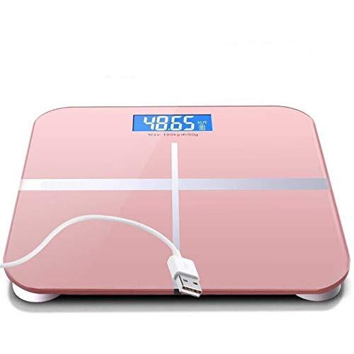 Bilancia per corpo umano per due volte all\'anno, bilance domestiche, bilance da bagno, bilance in vetro temperato, bilance per visione notturna, bilance per ricarica USB, rosa, 260mm * 260mm * 23mm