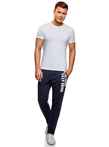 oodji Ultra Herren Jersey-Hose mit Bindebändern Blau (7910P)