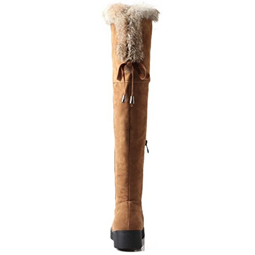 TAOFFEN Damen Winter Warme Flache Chelsea Stiefel Mode Lange Schneestiefel Gelb