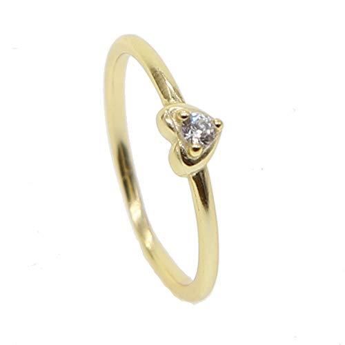 ZHOUYF RING Verlobungsringe 925 Silber Gold Dünne Bling Funkelndes Herz Cz Feinsilber Schmuck Frauen Schönen Ring, B, 9#