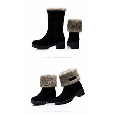 Stivali da donna Comfort Real Leather PU Inverno casuale Comfort Khaki Black Flat Black