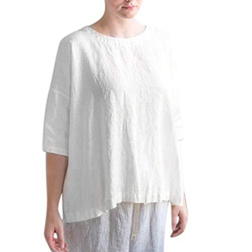 Yvelands Damen Bluse T-Shirt Sommer-O-Ansatz-halbe Hülse beiläufige Baumwollleinen lose Oberseiten ()