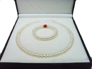 Laskey® Ladies AAA+ Grade 9-10mm 45cm Baroque Freshwater Cultured White Pearl Necklace with FREE matching 10mm Earrings and Bracelet with Red Jade Christmas Sale Deal