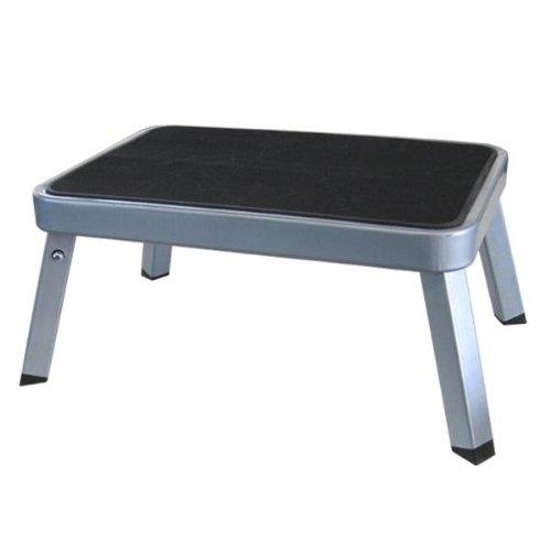 Preisvergleich Produktbild Einzeltritt Trittstufe klappbar aus Stahl, silber, TÜV geprüft, rutschfest, bis 150 kg Belastbar