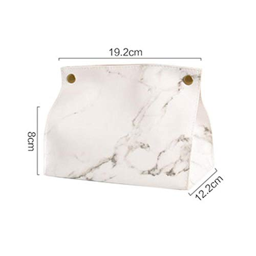WANG Chic Tissue Case Box Container PU Leather Marble Pattern Home Car Towel Napkin Papers Bag Holder Box Case Pouch Table Decoration,White -