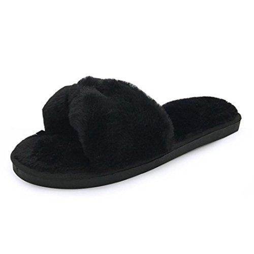 Hausschuhe damen Kolylong® Frauen Herbst Winter Warm Plüsch Hausschuhe Weich Flacher Pantoffel Flip Flop Sandalen Home Shoes Lazy Schuhe (41, Schwarz) (Winter Kleid Männer Stiefel)