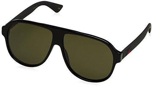 Gucci Herren GG0009S 001 Sonnenbrille, Schwarz (Black/Green), 59