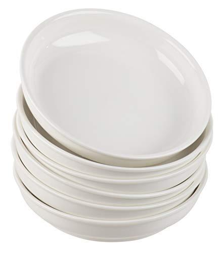Pasta Schalen Set aus 6 Teilen Breit flach 6tlg Schüssel für Pasta, Salat, Suppe, Gemüseservierung, Hausküche, Restaurant, unifarben, Weiß, 20 x 4 cm (Pasta-schalen-set)