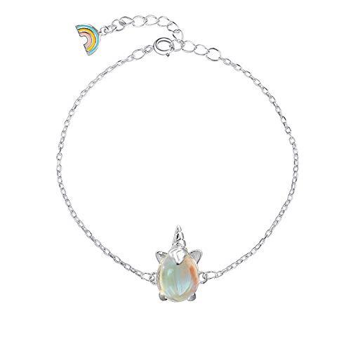 Pulsera de plata S925 con diseño de unicornio arcoíris y piedra lunar para mujer