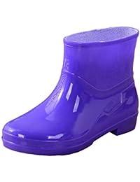 JEELINBORE Stivali Donna in Gomma Stampato Antiscivolo Impermeabile Stivali  da Pioggia Neve Festival alla Caviglia fe0f6e94b05