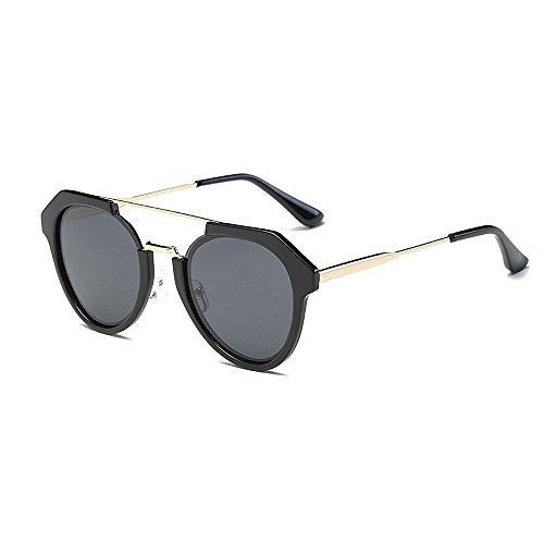 Mode Brillen Damen Sonnenbrillen Einzigartige Retro Polarized für Sonnenbrillen UV-Schutz Unisex-Sonnenbrillen umrandeten Kunststoffrahmen für das Reisen von bunten Linsen Occhiali ( Farbe : Schwarz )