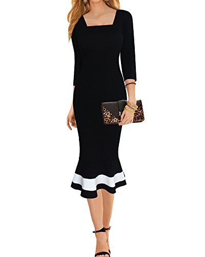 SaiDeng Frauen Elegante Farbblock Mermaid Kleider Büroarbeit Cocktail-Bleistiftkleid Schwarz M Kleid Für Reife Frauen