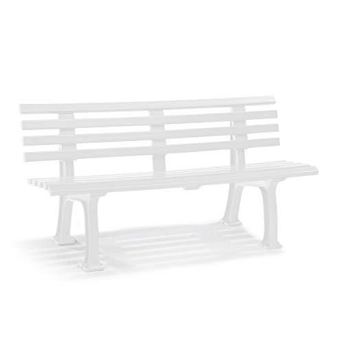 Parkbank aus Kunststoff, Weiß - 5