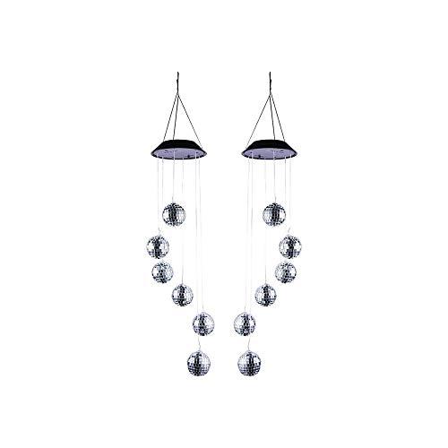 WOHAOKESHUI Windspiele 2 Stücke Windspiel Lichter Lichtwechsel Solar Bunte LED Hängelampe Runde Kugel Anhänger Nachtlicht für Veranda Garten Dach