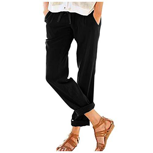 SHINEHUA Lange Hosen Damen Leinenhose Lockere Freizeithose Lange 100% Leinen Hose Elegante Stoffhose Strandhose Damenhosen Jogginghose Haremshose mit Kordelzug -