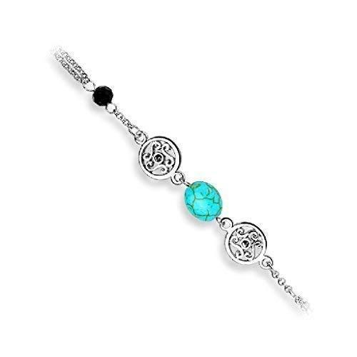 Tapsi´s Coolbodyart®| Damen Sklaven Armband Vintage Charm Bead Perle Messing RhodIniert