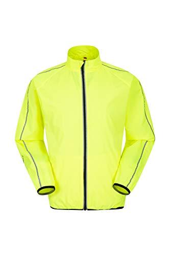 Mountain Warehouse Force Wasserabweisende Jogging-Herrenjacke - reflektierende Regenjacke, Netzeinsätze, Reißverschlusstaschen, verlängerte Rückseite - für Draußen Gelb XX-Large