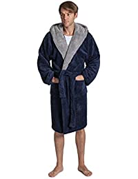 Pierre Roche Mens Plain Sherpa Fleece Dressing Gown Robe Warm Winter Robe Navy Blue Grey Hooded Or Shawl Collar Size M L XL 2XL 3XL 4XL 5XL