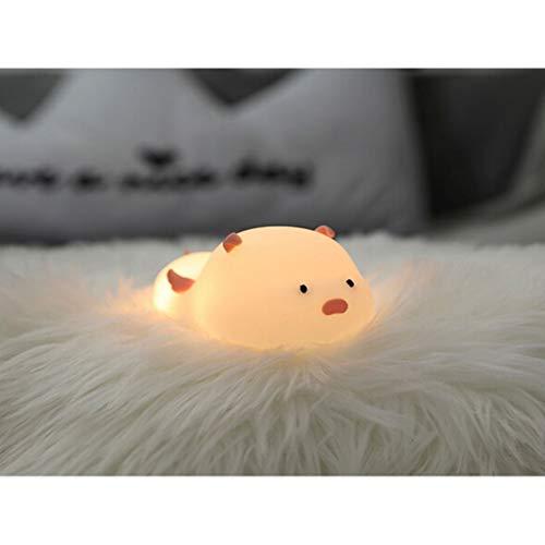 LED Nachtlicht Kinder Baby Nachtlampe mit Touch Schalter Tragbare 7 Farben süße Silikon Nachtlichter für Babyzimmer, Schlafzimmer, Wohnräume, Camping, Picknick Warmes weißes licht -