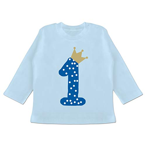 Geburtstag Baby - 1. Geburtstag Krone Junge Erster - 12-18 Monate - Babyblau - BZ11 - Baby T-Shirt Langarm