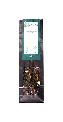 Hestia Tee Bagdad Grüner Tee Teemischung Mit Zitrusfrüchten Erfrischender Minze, Rosenblätter Und Süßem Zimt Geschenkidee Für Frauen Und Männer EINWEG, 40g (Arabische Tee Minze)