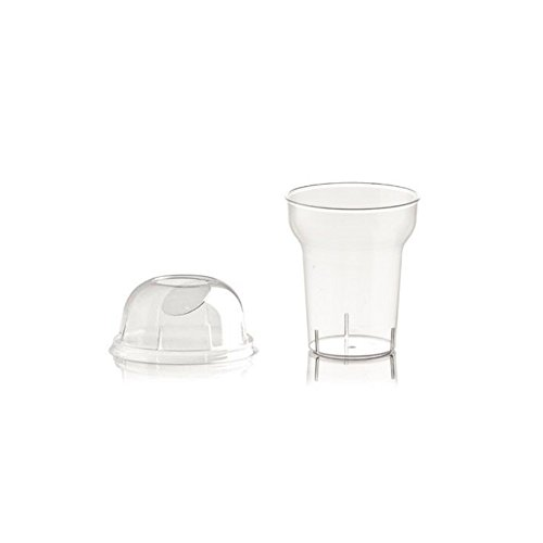 100vasos de plástico, 250cc, transparente + tapa, ideal para granizados, frappés, altura 9,5cm, diámetro 8 cm